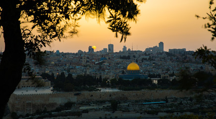 Sunset over Old Town of Jerusalem from Mount of Olives