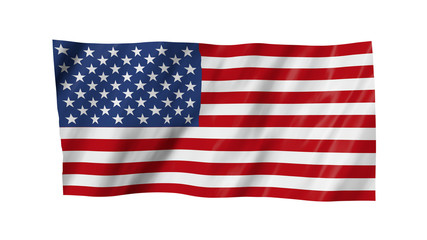 The USA flag in 3d, waving in the wind, on white background.