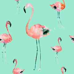 Hand Drawn Illustration With Flamingo. Exotic Summer Beach Motif. Swimwear Design, Wrapping, Background, Wallpaper, Fabric. Hawaiian Print. Jungle Birds Repeated Ornament. Aloha. Boho. Africa.