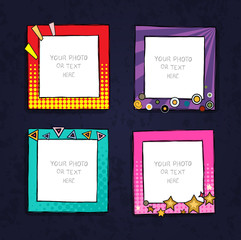 Cartoon style. Decorative vector template frame. These photo frames you can use for kids picture or or funny photos. Scrapbook design concept. Insert your picture.