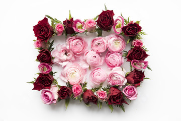 Peonies inside rose frame