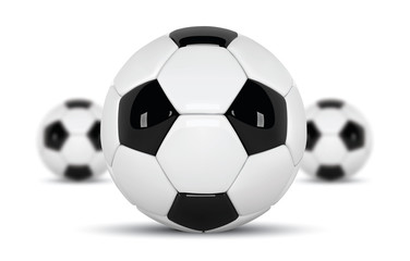 Realistic soccer balls or football ball on white background. Set of three 3d Style vector Ball isolated on white background. Football design with blurred balls