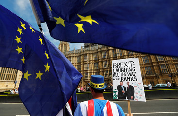 Anti-Brexit demonstrators protest opposite the Houses of Parliament in London