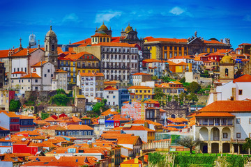 Porto, Portugal old town Ribeira aerial view with colorful traditional houses