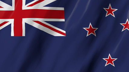 The New Zealand flag in 3d, waving in the wind, on close