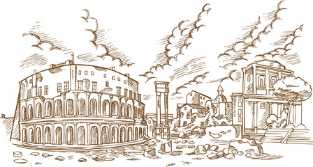 panoramic view on the ancient Theatre of Marcellus( Teatro di Marcello ), vector illustration hand draw