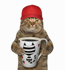 The cat in the red baseball cap holds a cup with black coffee. White background.