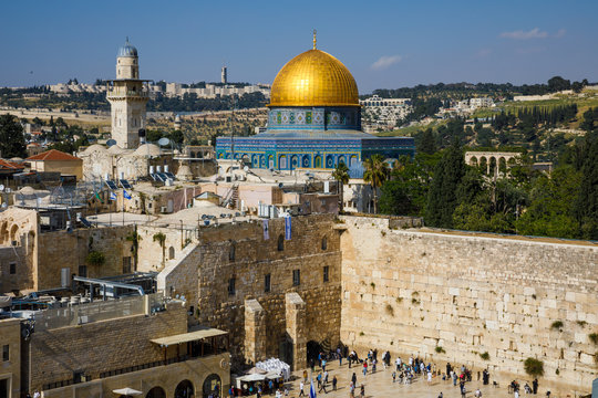 Dome of the Rock with Wailing Wall in Jerusalem
