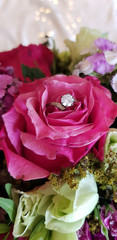 Runder Diamantring in einer rosa Rose