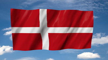 The Danish flag flag in 3d, waving in the wind, on sky background.