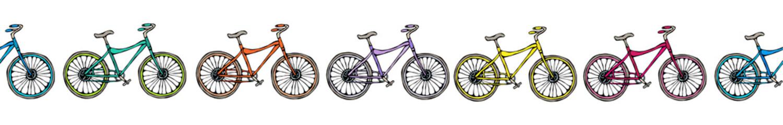 Endless Pattern Brush or Ribbon of Bicycles Bike Background. Realistic Hand Drawn Illustration. Savoyar Doodle Style.