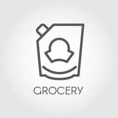 Mayonnaise, ketchup, doypack or mustard icon. Grocery concept line label. Food series. Vector illustration for product stores, retail, price list and other cooking thematic sites and mobile apps