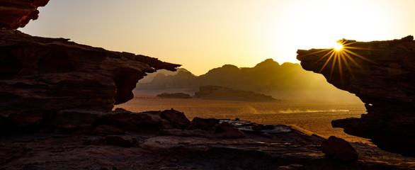 Sunset in the Wadi Rum Desert of Jordan