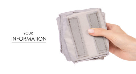 Partitions inserts backpack in hand pattern on white background isolation