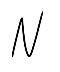 Expressive brush calligraphic handwritten script letters N