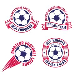 Two-color football emblems with soccer ball and heraldic elements