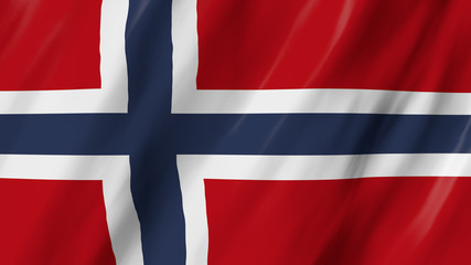 The Norwegian flag, flag in 3d, waving in the wind, on close