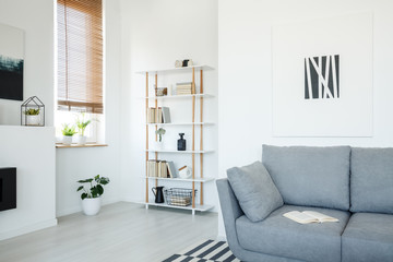 Poster above grey settee in white living room interior with plant under window with blinds. Real photo