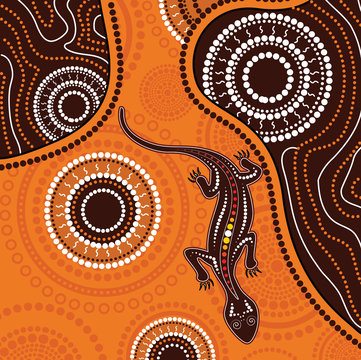 Aboriginal art background with lizard. Illustration based on aboriginal style of dot painting.