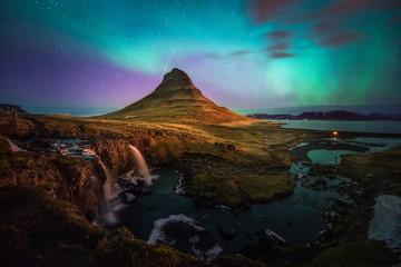 Icelandic famous Kirkjufell snaefellness mountain landscape in winter