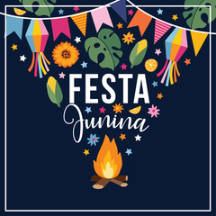 Festa junina, Brazilian june party. Greeting card, invitation. Latin American holiday. Vector illustration background with garland of bunting flags, fire, stars, corn, monstera leaves and sunflowers