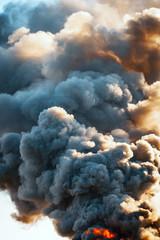 Huge dark smoke from the fire