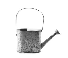 Watering can for gardening on white background