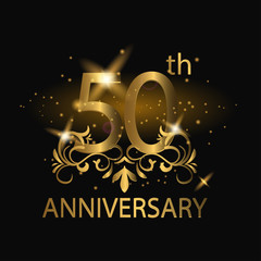 50th anniversary logo with gold color