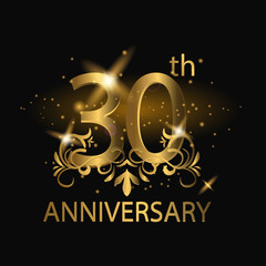 30th anniversary logo with gold color
