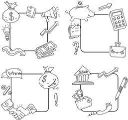 Business and money frames sketches on white background.
