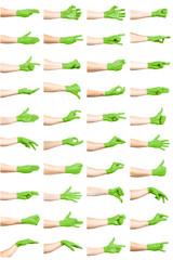 set of green hand gestures