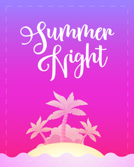 Summer Night - Vector Template poster for Party