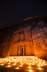 Stars and Candles at the Treasury Building in Petra Jordan