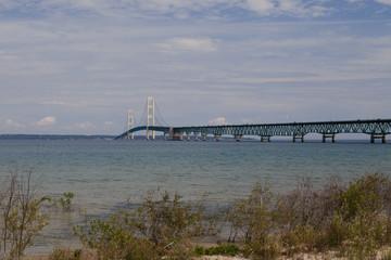 Mackinac bridge trough lake Huron and Michigan, USA