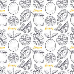 seamless background of lemons