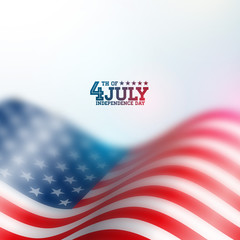 Independence Day of the USA Vector Background. Fourth of July Illustration with Blurred Flag and Typography Design for Banner, Greeting Card, Invitation or Holiday Poster.