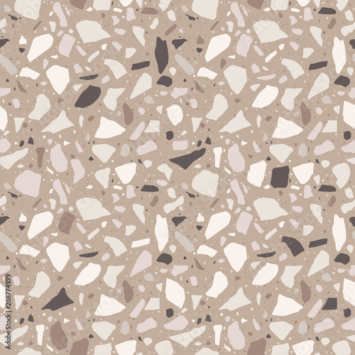 Terrazzo Seamless Pattern Tile With Pebbles And Stone Abstract Texture Background For Wrapping Paper