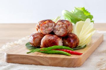Isaan sausage or Thai Northeastern sausage