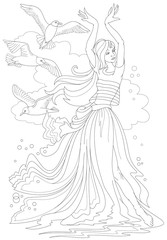 Black and white page for coloring. Fantasy drawing of beautiful girl dancing tango at the seaside. Worksheet for children and adults. Vector image.