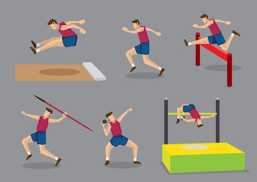 Track and Field Sports Vector Illustration