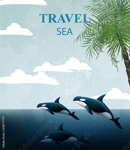 summer travel card with whales vector tropic sea water backgrounds