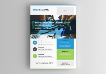 Business Flyer Layout with Blue and Green Elements