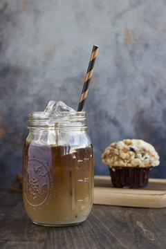 Iced Coffee in a Jar with a Muffin