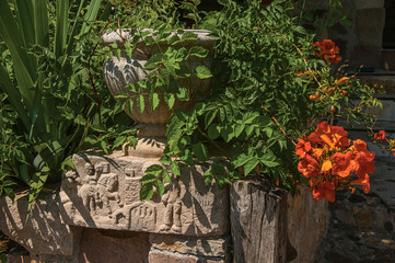 Close-up of stones and vase with shrubs and flowers, at the gorgeous medieval hamlet of Les...