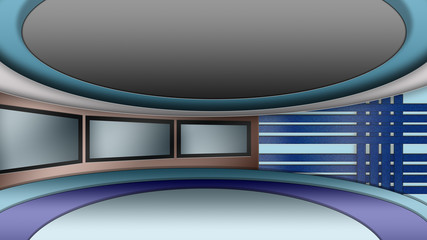 Virtual TV news studio set