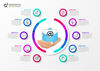 Email marketing. Business concept with 10 steps. Infographics