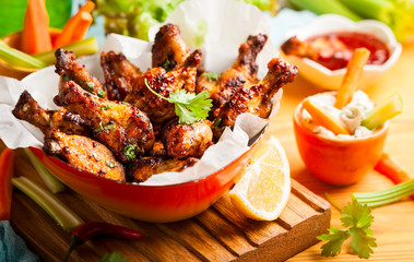 Delicious barbecue chicken wings