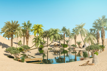 Oasis and Palm Trees in Desert and Traveler Camps, 3D Rendering