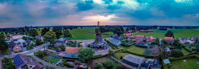 Windmill Dijkerhoek Netherlands, old historical wooden windmill Holland