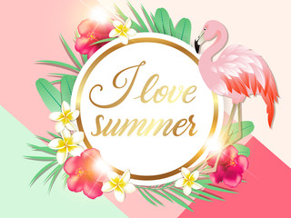 Tropical background with palm leaves and pink flamingo